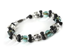 Skull and bones beaded bracelet.  stock photos