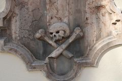 Skull and bones. On a church stock photo