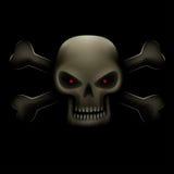 Skull with bones in dark Stock Images