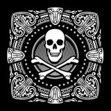 Crossbones and Ornate Spades. Skull and bones design with ornaments Stock Photography