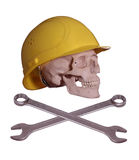Skull and bones with helmet and wrench. On white background Royalty Free Stock Images