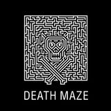 Skull and bones in a horrible deadly labyrinth - Creative logo, vector sign concept illustration. Layout T-shirts, prints, posters Royalty Free Stock Image