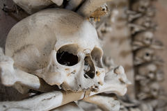 Skull bones. Human Skull and bones at the bone chapel in Kutna Hora, near Prague - Czech Republic.Good for halloween background or concept royalty free stock photography