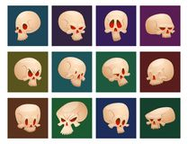 Skull bones human face halloween cards horror crossbones fear scary vector illustration isolated on background. Stock Images