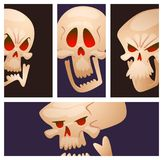 Skull bones human face halloween cards horror crossbones fear scary vector illustration isolated on background. Stock Photo
