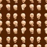 Skull bones human face halloween horror crossbones fear scary. Vector illustration seamless pattern background. Skull bones warning gothic cartoon character stock illustration