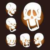 Skull bones human face halloween horror crossbones fear scary vector illustration  on background. Stock Image