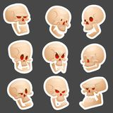 Skull bones human face halloween horror crossbones fear scary vector illustration  on background. Royalty Free Stock Photo