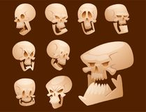 Skull bones human face halloween horror crossbones fear scary vector illustration isolated on background. Stock Images