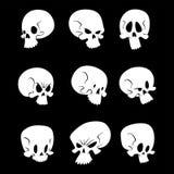 Skull bones human face halloween horror crossbones fear scary. Vector illustration isolated on background. Skull bones warning gothic cartoon character emotions stock illustration