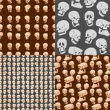 Skull bones human face halloween horror crossbones fear scary vector illustration seamless pattern background. Stock Photos