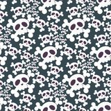 Skull bones human face halloween horror crossbones fear scary vector illustration seamless pattern background. Stock Photography