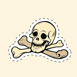 Skull and bones Jolly Roger label sticker Royalty Free Stock Images