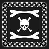 Skull and bones pattern brush with corner Stock Photos
