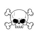 Skull with bones. Pirates sign  illustration. Head skeleto Stock Photography