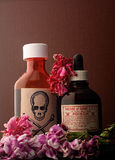 Skull and bones and poison bottle. royalty free stock photos