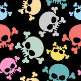 Skull with bones seamless pattern. Colored skull skeleton. Hallo Royalty Free Stock Image