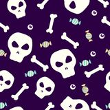 Skull and bones seamless pattern. Skull and bone seamless pattern with eye and candy stock illustration