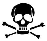 Skull and bones silhouette 300 dpi  Royalty Free Stock Photos