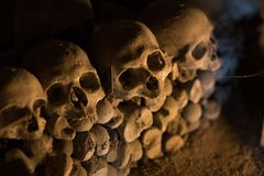 Skull and bones. In ancient ossuary, Naples stock image