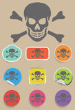 Skull and bones warning sign - vector. Skull and bones warning sign - a vector illustraton symbol Stock Photo
