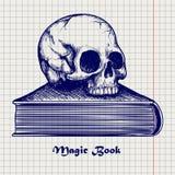 Skull on book ball pen sketch Royalty Free Stock Photos