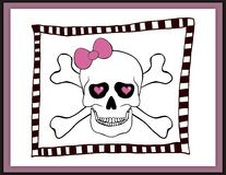 Skull with bow and hearts in an eye sockets card Stock Images