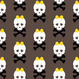 Skull with a bow, seamless pattern. Vector Royalty Free Stock Image