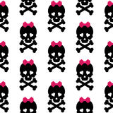 Skull with a bow, seamless pattern. Vector Stock Photography