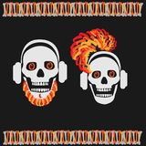 Skull boy with beard and skull girl with red hair Stock Photos