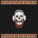 Skull boy wearing headphones with a beard royalty free stock image