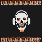 Skull boy wearing headphones with a beard Royalty Free Stock Images