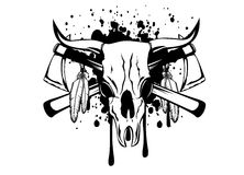 Skull bull and crossed axes Stock Photos