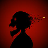 Skull and bullet. Halloween red background with silhouette of skeleton and bullet, illustration Royalty Free Stock Photo