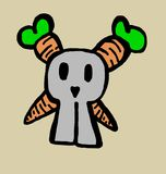 Skull bunny with carrots bones Royalty Free Stock Images