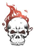 A skull burned by a fierce fire vector illustration