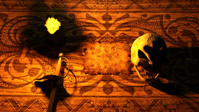 Skull with burning candle, pirate map, and sword. 3d rendering Stock Photo