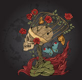 Skull, bush of roses, snake and  flame Royalty Free Stock Image