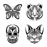 Skull butterfly tiger cat tattoo design. Skull butterfly tiger cat tattoo draw abstract icon. flat and isolated design. Vector illustration Royalty Free Stock Images
