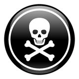 Skull On Button. Deadly danger sign Royalty Free Stock Images
