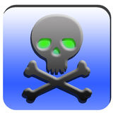 Skull button. Illustration of the skull with the green eys Royalty Free Stock Photos