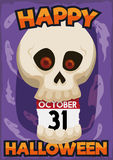 Skull with a Calendar Reminder for Halloween Celebration, Vector Illustration Royalty Free Stock Images