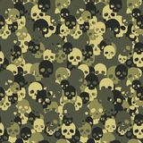 Skull camo seamless pattern. Green camouflage. Royalty Free Stock Image