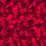 Skull camo seamless pattern. Red camouflage. Royalty Free Stock Image