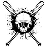 Skull in cap. Abstract vector illustration black and white skull without lower jaw in sunglasses and baseball cap on crossed baseball bats. Design for tattoo or Stock Photo
