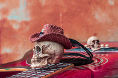 The skull cap at the top classical guitar Royalty Free Stock Photo