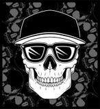 Skull cap wearing glasses vector stock illustration