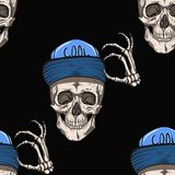 Skull in the cap. He welcomes everyone. Seamless pattern Royalty Free Stock Image