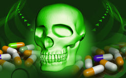 Skull and capsule Royalty Free Stock Photography