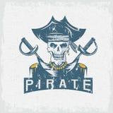Skull captain pirate in hat with swords grunge  design tem Stock Photo
